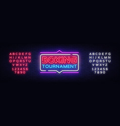 Boxing tournament neon sign boxing design vector