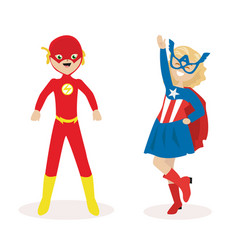 Boy and a girl in masks and suits of super heroes vector