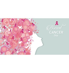 Breast cancer day woman silhouette pink ribbon vector image vector image