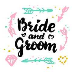 bride and groom handwritten postcard vector image