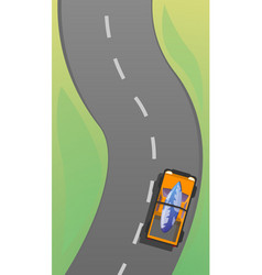 car driving to surfing concept banner cartoon vector image