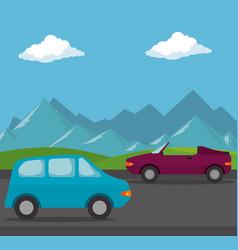 cars vehicles transport scene vector image