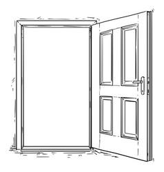 Cartoon of open wooden door vector