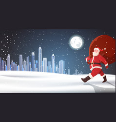 christmas background santa claus carry bag of vector image