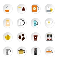 Coffee and tea icons set flat style vector image
