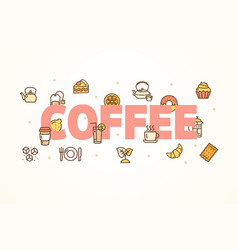 coffee banner with color thin line icon vector image
