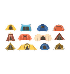 Collection touristic and military tents of vector