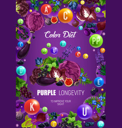 Color diet longevity purple healthy food nutrition vector