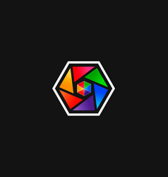colorful abstract hexagon shape logo vector image