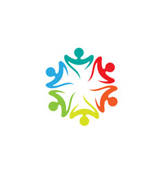 Colorful people students team logo vector