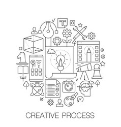 creative process in circle - concept line vector image