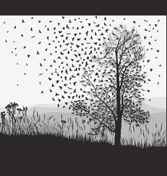 crows in a tree chestnut vector image