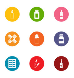 Cureless icons set flat style vector