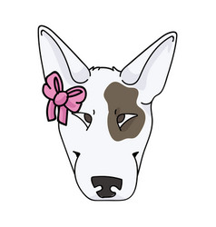 Cute cartoon bull terrier dog face breed with pink vector