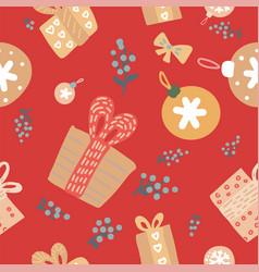 cute scandinavian merry little christmas seamless vector image