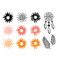 Decorative sun and feathers vector