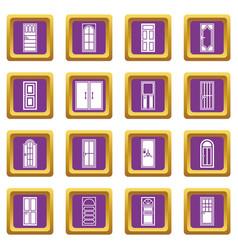 door icons set purple vector image
