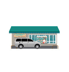 Drive thru pharmacy with customer a purchased vector