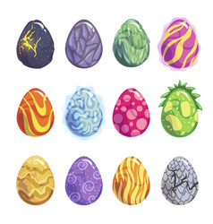 eggs of fantasy dragon or dinosaur bright set vector image