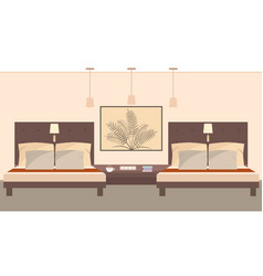 Elegant hotel room interior for two persons vector