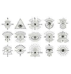 evil doodle eye hand drawn magic witchcraft eye vector image