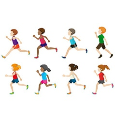 Faceless kids running vector image