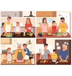 Family cooking happy parents and children cook vector