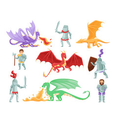 flat set of armored knights and large vector image