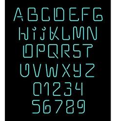 Font neon Realistic brilliant fluorescent font for vector
