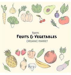 fresh organic fruits market vector image