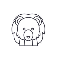funny lion line icon concept funny lion vector image