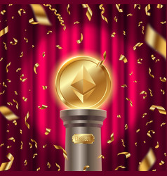 Golden ethereum coin on a pedestal vector