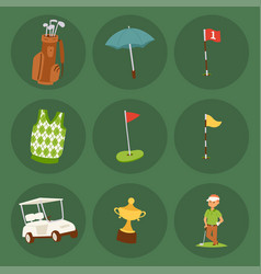 golf player clothes and accessories golfing club vector image