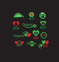 green organic eco natural abstract icon set vector image