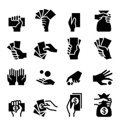 Hand and money icon vector