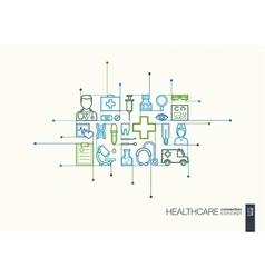 Healthcare integrated thin line symbols vector image