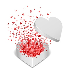 Heart gift present with fly hearts vector
