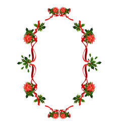holiday floral ribbon frame vector image