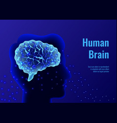 human brain glowing composition vector image