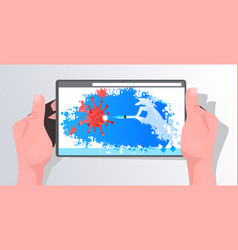Human hands using tablet with red influenza virus vector