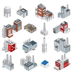 industrial buildings isometric set vector image