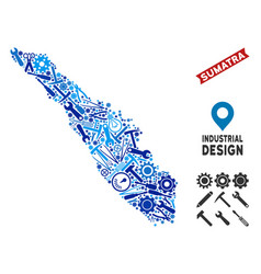 Instrument sumatra island map collage vector