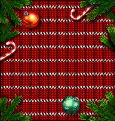 Knitted red christmas ornamental background vector