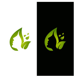 leaf and face logo template vector image