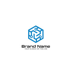 Letter logo t technology design vector