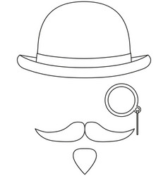 line art black and white hipster avatar elements vector image