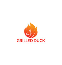 logo grilled duck restaurant vector image