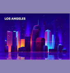 los angeles night city with neon illumination vector image
