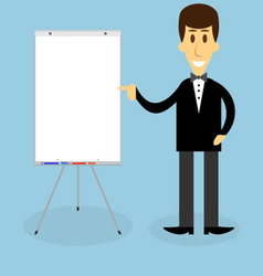 Man with banner presentation vector image