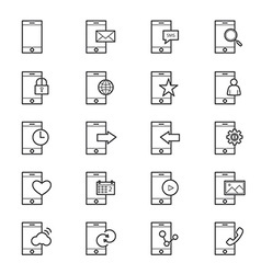 Mobile Phone Device Icons Line vector image